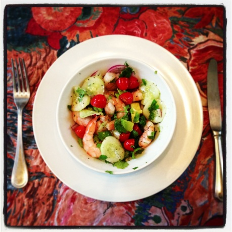 Shrimp salad with grapefruit, avocado, cherry tomatoes, salted cucumbers, red onion, cilantro, Bragg's Apple Cider Vinegar, olive oil, and fresh ground pepper.