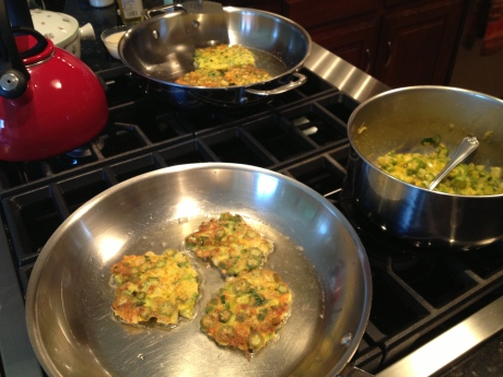 Frying up some okra cakes!