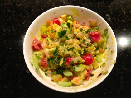 Shrimp Salad (almost the same as the last time, but I used my runny mayonnaise as the dressing)
