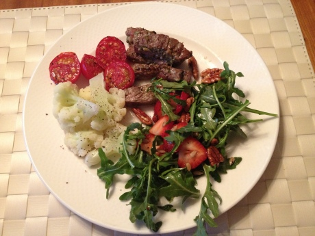 Soy and Sake-free Bulgogi with cauliflower, broiled cherry tomatoes and an arugula salad with sunflower seeds, pecans, strawberries and homemade balsamic vinaigrette.